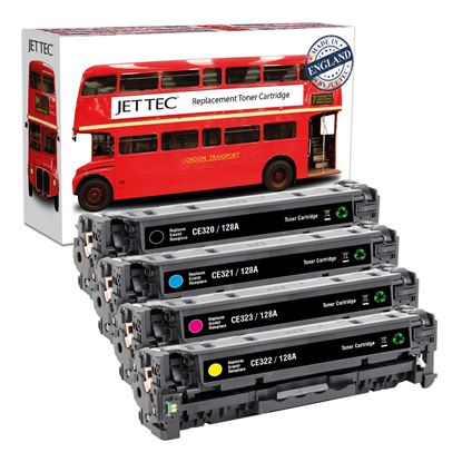 Picture of Red Bus Recycled HP 128A Black, Cyan, Magenta, Yellow (CE320/1/2/3A) Toner Cartridge Multipack