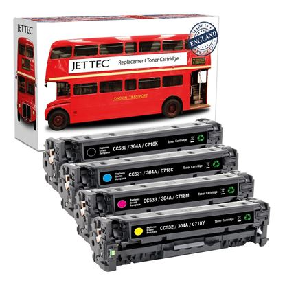 Picture of Red Bus Recycled HP 304A Black, Cyan, Magenta, Yellow (CC530/1/2/3A) Toner Cartridge Multipack
