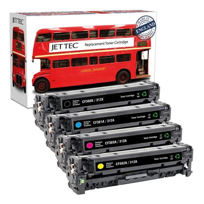 Picture of Red Bus Recycled HP 312A/X Black, Cyan, Magenta, Yellow (CF380X/1/2/3A) Toner Cartridge Multipack