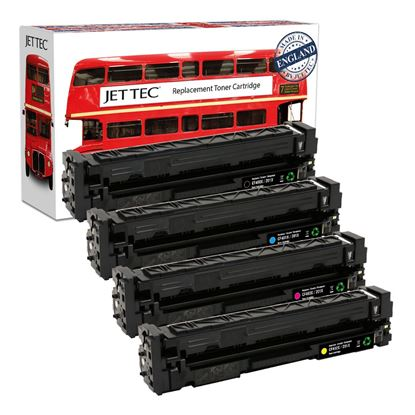 Picture of Red Bus Recycled HP 201X High Yield Black, Cyan, Magenta, Yellow (CF400/1/2/3X) Toner Cartridge Multipack