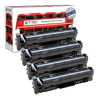 Picture of Red Bus Recycled HP 410X High Yield Black, Cyan, Magenta, Yellow (CF410/1/2/3X) Toner Cartridge Multipack