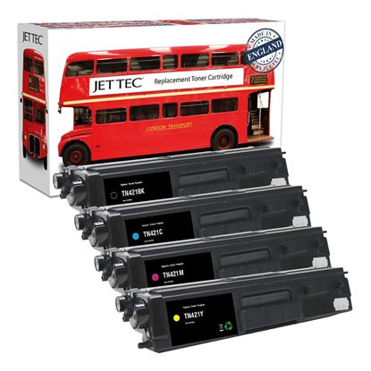 Picture of Red Bus Recycled Brother TN-421 Black, Cyan, Magenta, Yellow Toner Cartridge Multipack
